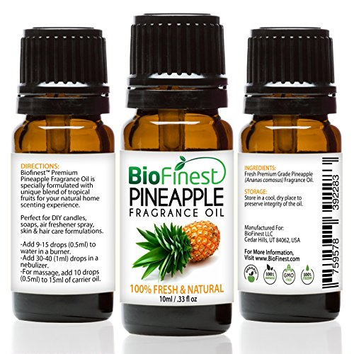 biofinest Ananas Duft Öl–100% Pure & Natural–Fresh Home Duft–Air Refresher–Entspannende Aromatherapie–Haut und Haar Care–GRATIS E-Book (Tropfen Zitrone Minze)