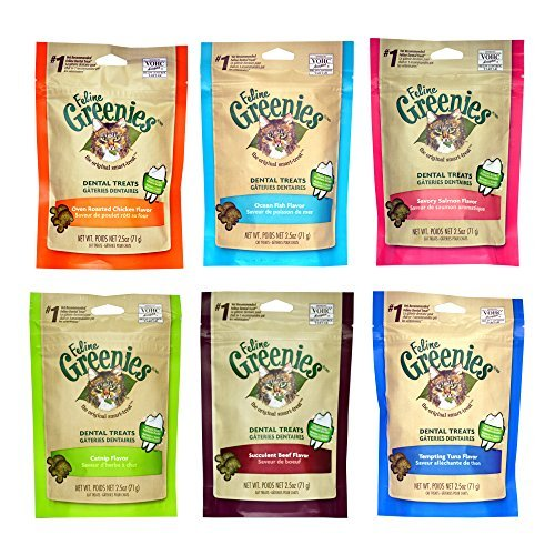 Greenies Dental Cat Treats Variety Pack - 6 Flavors (Tempting Tuna, Savory Salmon, Ocean Fish, Succulent Beef, Oven Roasted Chicken, and Catnip Flavor) - 2.5 Ounces Each (6 Total Pouches) by Greenies