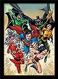 DC Comics Affiche encadrée «Ligue des héros», 30x 40cm