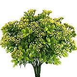 Nahuaa 4 Pcs Künstliche Sträucher, außenbreiche Grünpflanzen Frühling Dekor Aglaia Odorata(Chinesische Reis-Blume) aus Kunststoff für Wohnung Zimmer Fensterbrett
