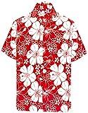 LA LEELA | Funky Hawaiihemd | Herren | Kurzarm | Front-Tasche | Hawaii-Print | Strand Hibiskus Blumen Gedruckt Rot_W301 M - Brustumfang (in cms) : 101-111
