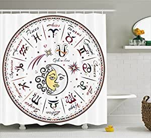 Zodiac decor shower curtain by ambesonne division of for Zodiac bathroom accessories
