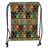 Drawstring Backpacks Bags,Modern Art Home Decor,Folk Aztec Motif with Ornate Triangles Rounds and Inner Spots Dots Figures,Multi Soft Satin,5 Liter Capacity,Adjustable String Closu