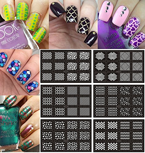 Ejiubas - Set di adesivi in vinile per unghie, per decorazioni con tecnica a stencil o ad aerografo, di facile applicazione, per nail art, confezione da 12 fogli con 24 motivi diversi