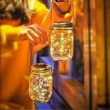 Lámparas Solares Exterior, Juego de 2 Luz Solar Jardín, 30LED Lámpara Solar Mason Jar Set Lámpara Ahorro de Energía e Imperme