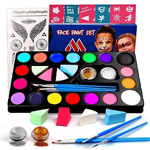 Miserwe Schminke-Set für Kinder Erwachsene Ungiftige Bodypaint Körpermalfarben Set Professionelle Gesichtsfarben Kinder Schminkpalette Waschbare Tattoofarbe mit 18 Farben Kinderschminke Set -
