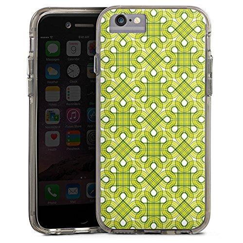 Apple iPhone 6s Bumper Hülle Bumper Case Glitzer Hülle Viereck Green Pattern Bumper Case transparent grau