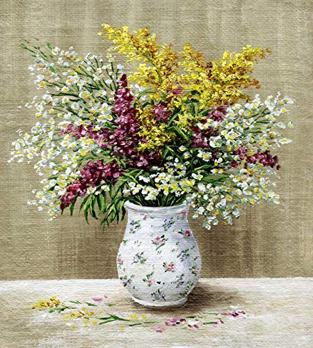 Bilderdepot24 Vlies Fototapete - Stillleben Wildblumen in weißer Vase - 135x150 cm - mit Kleister - Poster - Foto auf Tapete - Wandbild - Wandtapete - Vliestapete