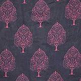 #10: Navy Blue and Purple Flower Sanganeri Traditional Block Print Cotton Fabric