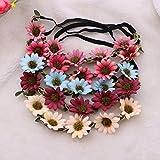 FRCOLOR Blumen-Stirnband Krone Blumenkranz Stirnband mit verstellbaren Elastikband, 5er-Set (Mischfarbe)