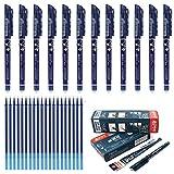 12 stylos effaçables Laconile avec mine de 0,5mm, noir/bleu/rouge/bleu foncé et 20 recharges d'encre gel noir foncé
