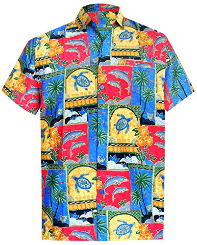 LA-LEELA-Shirt-camisa-hawaiana-Hombre-XS-5XL-Manga-corta-Delante-de-bolsillo-Impresin-hawaiana-casual-Regular-Fit-Camisa-de-Hawaii-Rojo-1688-5XL