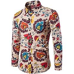 LMMVP Camiseta para Hombre Casual Manga Larga Negocio Ajustado Impresión Retro Negocio Botón Formal Blusa Tops Camisa de Hombre (M