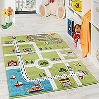 Alfombra Infantil De Juegos De Diseño Ciudad Con Puerto Y Calles En Gris Y Verde, Grösse:80x150 cm