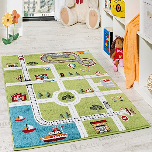 *Paco Home Kinderteppich Spielteppich City Hafen Straßenteppich Stadt Straße Grau Grün, Grösse:120×170 cm*