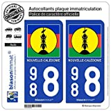 blasonimmat 2 Autocollants immatriculation Auto 988 Nouvelle-Calédonie - Drapeau Kanaky