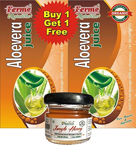 Farm Naturelle (Farm Natural Produce) 1+1 Free Aloevera Juice+ Free Forest Honey ,The Finest 800 Ml Aloe Vera/ Aloevera Juice Herbal Organic  available at amazon for Rs.269