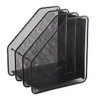 Xpork Black 3 Tier Mesh File Racks Desktop Storage Organiser Box File Dividers Rack Display