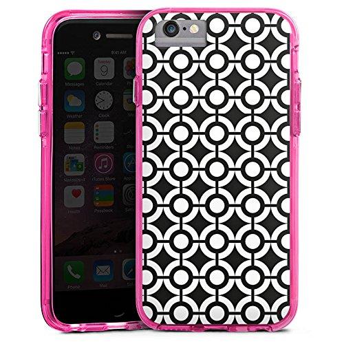 Apple iPhone 6 Plus Bumper Hülle Bumper Case Glitzer Hülle Kreise Schwarz Weiss Black White Bumper Case transparent pink