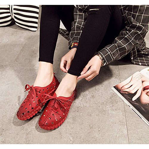 Eastlion Leder Hohl Frauen Sandalen Schwangere Frauen Flache Boden Schuhe Beiläufig Loch Schuhe Rot