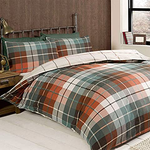 Just Contempo Brushed Cotton Duvet Cover Set, Single, Terracotta