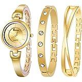 ساعة يد للنساء من بيرنز مع عدد 2 سوارة، لون ذهبي، ستانلس ستيل