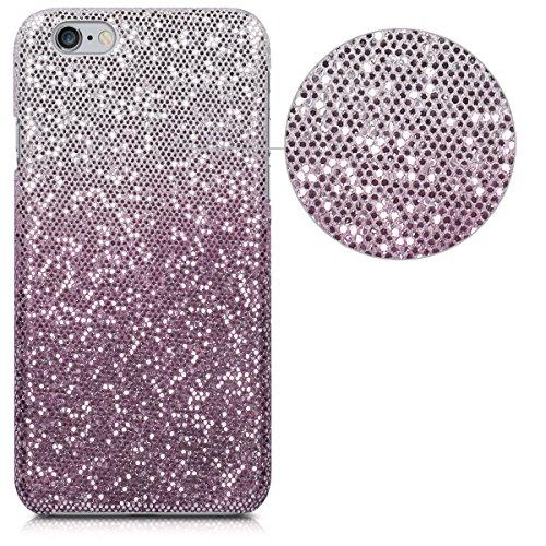 kwmobile Étui rigide Design marbre pour Apple iPhone 6 / 6S en noir blanc Boule à facettes scintillante rose foncé argenté