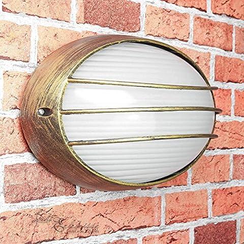 """""""Amsterdam"""" Feuchtraum-Leuchte Außen-Lampe in gold / IP44 E27 bis 60W 230V / Wand-Außenleuchte für die Hauswand outdoor Garten"""