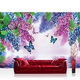 Fototapete 254x184 cm PREMIUM Wand Foto Tapete Wand Bild Papiertapete - Blumen Tapete Flieder Schmetterling Wasser lila - no. 418