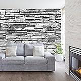 livingdecoration Fototapete Stein 3D 274,5 x 254 cm Steinwand Schwarz Weiß Weiss Mauer Ziegel Tapete inklusiv Kleister