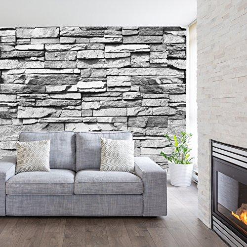 *livingdecoration Fototapete Stein 3D 274,5 x 254 cm Steinwand Schwarz Weiß Weiss Mauer Ziegel Tapete inklusiv Kleister*