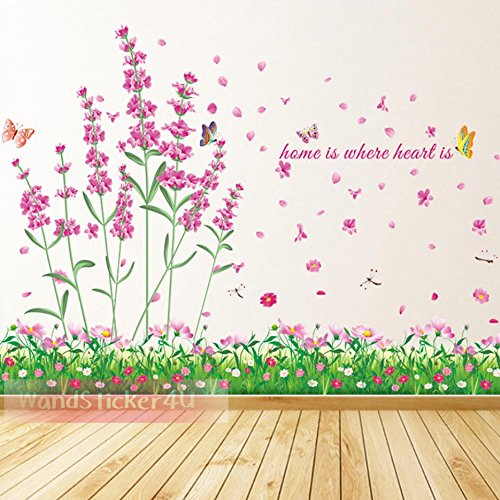 WandSticker4U- Wandtattoo 'Feld der Blumen' | 114x104 cm | Lavendel Blumen Wiese Libellen Kamille Schmetterling Garten Bordüre | Wandaufkleber...