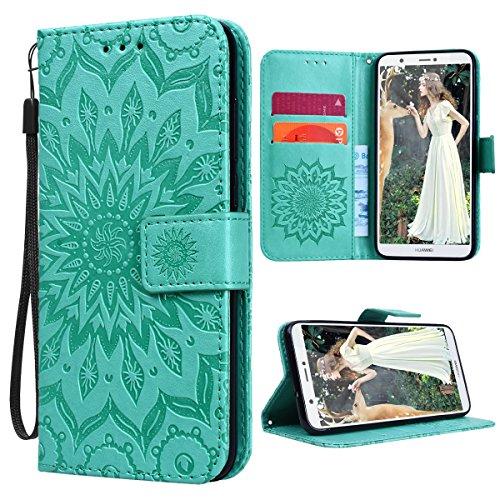 VemMore Kompatibel für Huawei P Smart Hülle Handyhülle Schutzhülle Leder PU Wallet Flip Case Bumper Lederhülle Ledertasche Blumen Muster Klapphülle Klappbar Magnetisch Dünn Silikon Sonnenblume - Grün