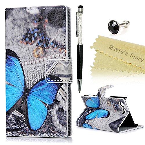 Mavis's Diary Case für Sony Xperia Xcompact PU Leder Tasche Flipcase Case Schutzhülle Bunte Aufdruck Muster mit Kreditkarteninhaber Kippständer Magnetverschluss Handyhülle Schmetterling