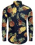 Burlady Hemd Herren Langarm Hawaiihemd Party Sommer Freizeithemd