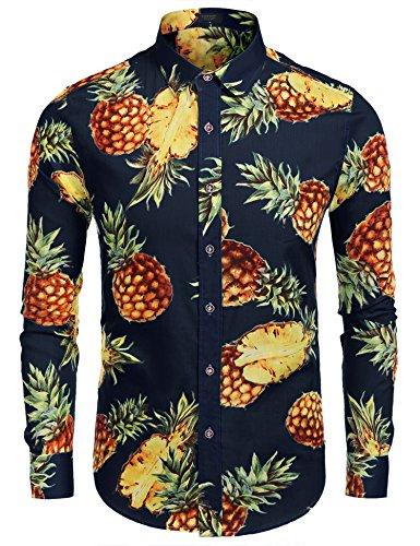 Hawaiihemd Herren Langarm Blumen Urlaub Party Shirt Aus Baumwolle Blau XXL (Ananas Hawaii-shirt)