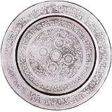Orientalisches rundes Tablett aus Messing AFAF Silber 40cm groß | Marokkanisches Teetablett Silberfarbig | Orient Serviertablett Rund Rutschfest | Orientalische Dekoration auf dem gedeckten Tisch
