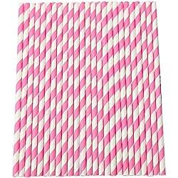 Joyfeel comprar pajas de beber de papel rayado para fiestas, decoración de mesa, paquete de bodas de 25 Rosa