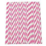 Da.Wa 25PCS/Set, 6X197MM Farbe Papier Stroh Rohr Strohhalm(Rosa)
