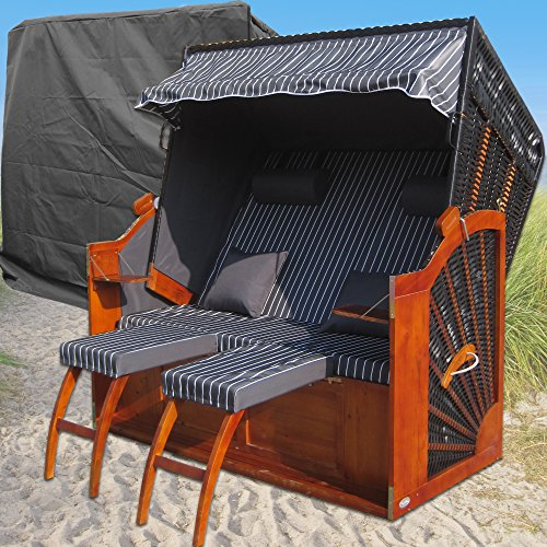 Volllieger Strandkorb XXL anthrazit günstig kaufen # 2 Bezüge ( Grundbezug + abnehm- und waschbarer Wechselbezug ) # inkl. Schutzhülle