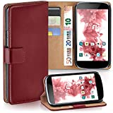 moex LG Google Nexus 4 | Hülle Dunkel-Rot mit Karten-Fach 360° Book Klapp-Hülle Handytasche Kunst-Leder Handyhülle für LG Google Nexus 4 Case Flip Cover Schutzhülle Tasche