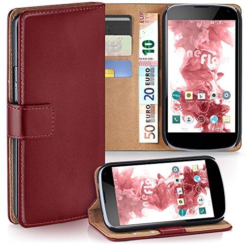 LG Google Nexus 4 Hülle Dunkel-Rot mit Karten-Fach [OneFlow 360° Book Klapp-Hülle] Handytasche Kunst-Leder Handyhülle für LG Google Nexus 4 Case Flip Cover Schutzhülle Tasche