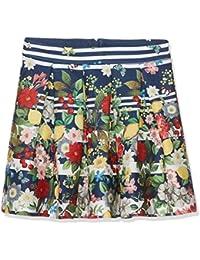 Yumi Italian Floral Stripe Skirt (Navy), Falda para Niños