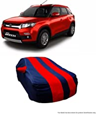 MotRoX Dual Tone Stripe Car Body Cover for Maruti Suzuki Vitara Brezza (Navy Blue with Red Stripe)