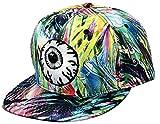 THENICE Uomo Hip Hop grandi occhi Cappello Baseball Cap piatto a tesa (multicolore)