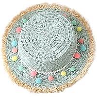 Outflower Sombrero de Paja de Bola de Felpa Colorida Sombrero Protector Solar Sombrero de Playa Sombrero de los Niños Plana Sombrero de Copa(Azul claro)