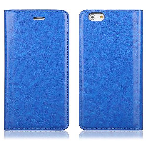 EGO® Flip Case Handy Tasche für iPhone 5 5s pink Stylish Flip Tasche Schutz Hülle Book Cover mit Magnetverschluss Kartenfach Bumper Etui Blau