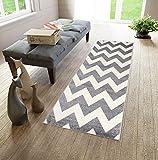 Tapis de Passage Couloir sur Mesure - Tapis à motif en zigzag - Design Moderne - Parfait Pour La Chambre - Plusieurs Coloris & Tailles