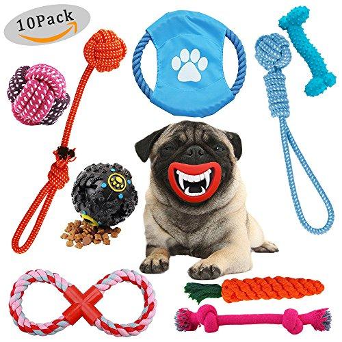Osla Seil Spielzeug, Hund kauen Spielzeug LANGLEBIG Puppy Spielzeug für kleine medium Hunde Zahnen Training Spielzeug, 10Stück Baumwolle Spielzeug Interaktives Spielzeug Seil mit Ball, Seil Tug Toys + Hunde Frisbee + quietschende Spielzeuge + Dog Treat Ball (Release Seil Ball)