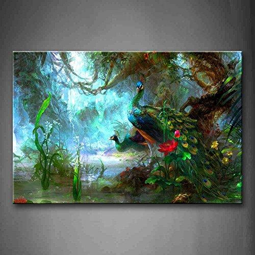 Zwei Pfauen Gehen Im Wald Schön Wandkunst Malerei Das Bild Druck Auf Leinwand Tier Kunstwerk Bilder Für Zuhause Büro Moderne Dekoration -